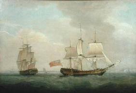 A Merchantman in Two Positions off the South Coast