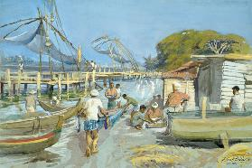 Fishing Nets near Cochin, 1994 (w/c)