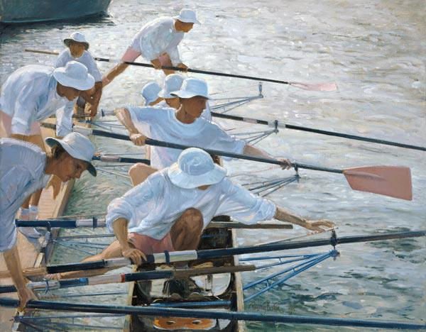 Securing Oars, Henley (oil on canvas)