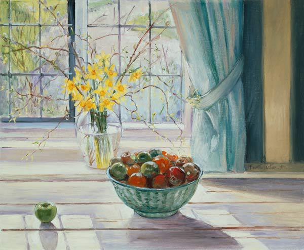 Fruit Bowl with Spring Flowers, 1990 (oil on canvas)