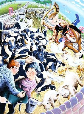 Bessie Bighead receives a stolen kiss amid the farmyard cows, 2007 (acrylic on panel)