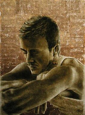 Beckham (b.1975) (oil and gold leaf on cracked gesso on canvas laid on board)