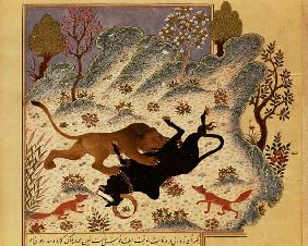 A Lion Attacking and Killing a Bull, from Rabila wa Dinma'