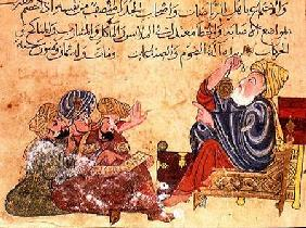 Aristotle teaching. illustration from 'The Better Sentences and Most Precious Dictions' by Al-Moubba