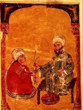 Sultan Ahmet III (1673-1736) with one of his disciples, from 'De Materia Medica' by Dioscorides