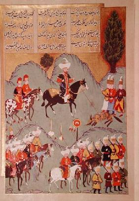 Sultan Murad I (c.1326-1389) hunting a wolf, from 'Hunernama' (Mss Hazine. 1524 f.83v)
