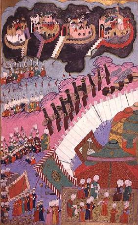 TSM H.1524 The Forces of Suleyman the Magnificent (1484-1566) Besieging a Christian Fortress, from t