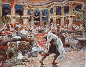 A Banquet in Nero's palace, illustration from 'Quo Vadis' by Henryk Sienkiewicz (1846-1916), c.1910