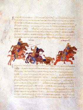 Pursuit of Sviatoslav's warriors by the Byzantine army (Miniature from the Madrid Skylitzes)