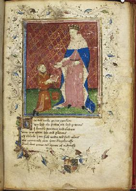 The author presenting his book to Henry V (from Thomas Hoccleve's Regiment of Princes)