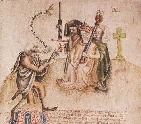 Coronation of King Alexander III on Moot Hill, Scone. From manuscript of the Scotichronicon by Walte