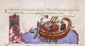 Thomas the Slav flees to the Arabs (Miniature from the Madrid Skylitzes)