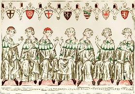 Seven Prince Electors voting for Henry VII, Holy Roman Emperor (Copy of a miniature from the Balduin
