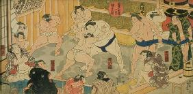 One of eight views of Kanjin Sumo, pub. by Tsutaya, 19th century, (triptych, oban size, colour woodb