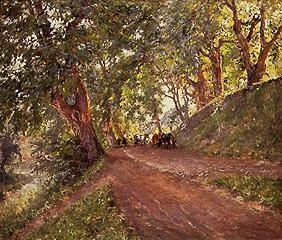 Smallholders with cows on a woodland path