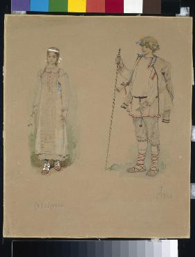 "Snow Maiden and Lel. Costume design for the opera ""Snow Maiden"" by N. Rimsky-Korsakov"