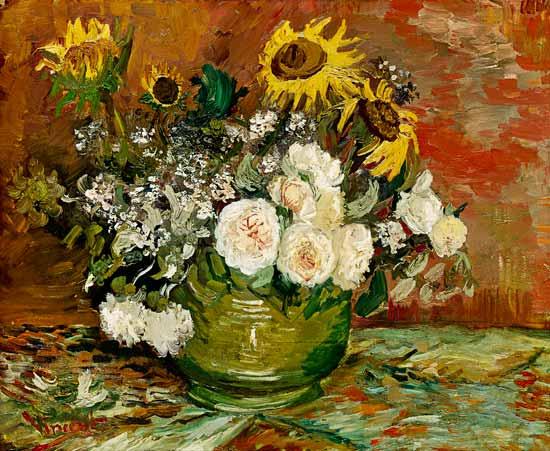 Vaso con girasoli,rose ed altri fiori - olio su tela di Vincent ...