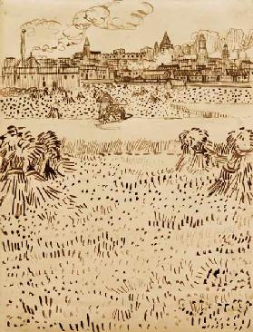 V.v.Gogh, Harvest / Drawing / 1888