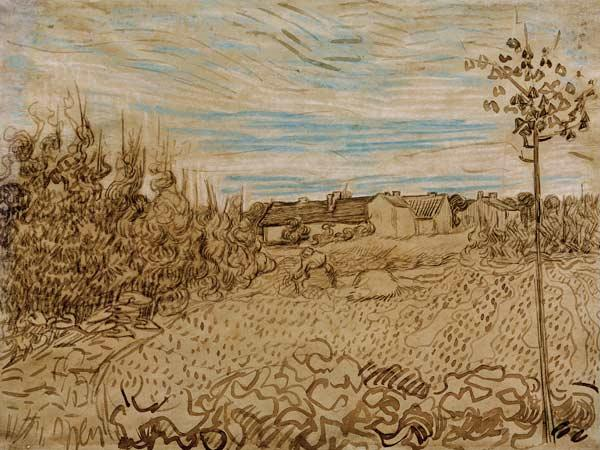 V.v.Gogh, Cottages w.Woman.../Draw./1890