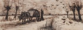 Ox-Cart in the Snow, from a Series of Four Drawings Symbolizing the Four Seasons (pencil, pen and br
