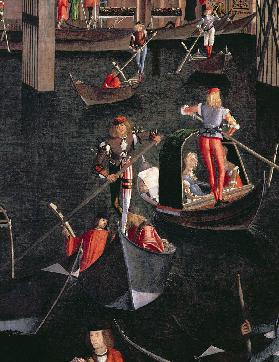 Gondoliers on the Grand Canal, detail from The Miracle of the Relic of the True Cross on the Rialto