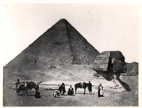 The Sphinx and the Great Pyramid of Khufu at Giza , c.1860 (b/w photo)