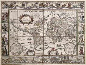 World Map, from 'Le Theatre du Monde' or 'Nouvel Atlas', 1645 (coloured engraving)