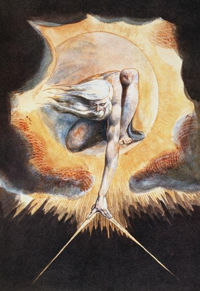The Ancient of Days, from 'Europe a Prophecy', 1793 (etching with pen & ink, w/c and bodycolour on p