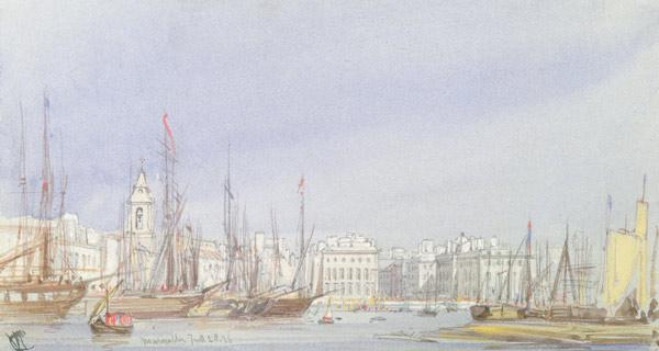 Marseilles, Shipping at Anchor and a Merchant Ship Becalmed, 28th July 1836