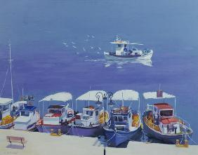 Greek Fishing Boats (oil on board)