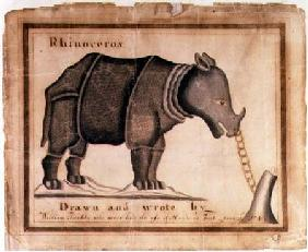 'Rhinoceros, drawn and wrote by William Twiddy who never had the use of hands or feet'